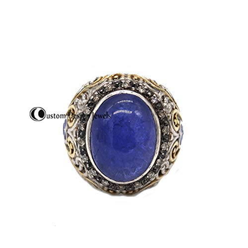 Diamond Ring, Gemstone Ring, Pave Diamond Ring, Vintage pave diamond ring, silver Pave diamond gemstone ring, Pave Diamond Tanzanite Jewelry