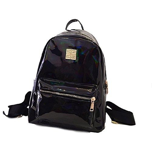[SSJ: Glitter Rucksack Enamel Rainbow Hologram Shoulder Bag Fashionable Women Messenger Crossbody (Black)] (Patent Leather Backpack)