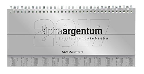 Tisch-Querkalender alpha argentum 2017 -  Tischkalender / Bürokalender (29,7 x 13,5) - 1 Woche 2 Seiten - silber