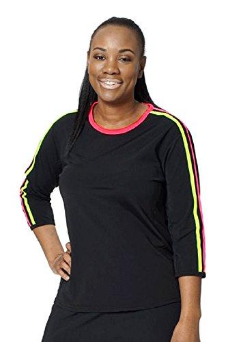HydroChic Womens Swim n Sport 3/4 Sleeve Shirt L Black/BrightCoral/RadiantYellow