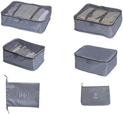 トラベルポーチ収納バッグ 6点のトラベルバッグセット、スーツケース包装収納袋、軽量・防水、大容量、旅行出張仕立て収納袋衣類、下着、化粧品、バックルデザイン