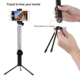 Selfie Stick, APPHOME Aluminum Extendable Monopod with Metal Tripod Stand and Bluetooth Remote Shutter for Gopro iPhone 7 6s 6 Plus Samsung Galaxy S7 Edge Smartphones, Silver (Patented)
