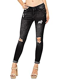 Womens Ripped High Wasited Skinny Denim Ankle Length Jeans
