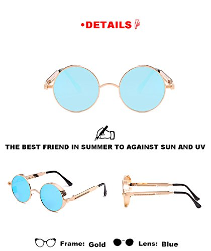 de Lente libre de Amantes sol aire unisex gafas hombres de sol de redondas moda de Mujeres para viaje Dorado las Gafas Marcos de verano de metal Azúl deportivas al 7qUyf
