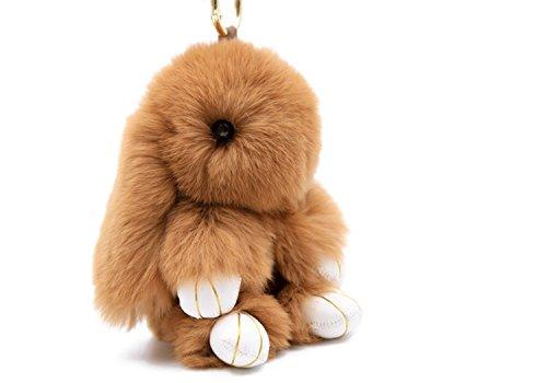 Denvosi Cute Bunny Keychain Cell Phone Accessories Real Rabbit Fur Keychain for Handbag and Purses Car Pendant