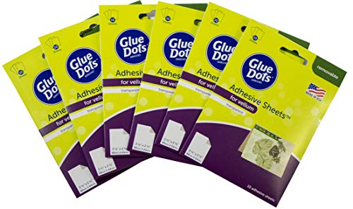 Glue Dots Transparent Adhesive Sheets for Vellum, 3.5 x 2.5 Inches, Set of Six 10-Sheet Packs, 60 Total Sheets, 08180-AMZ