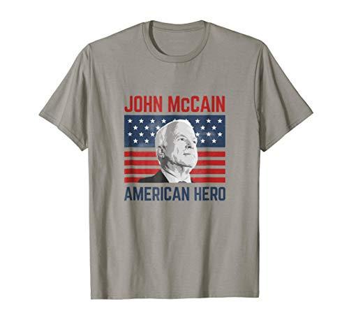 John McCain American Hero T-Shirt Flag Patriotic - Flag Mccain