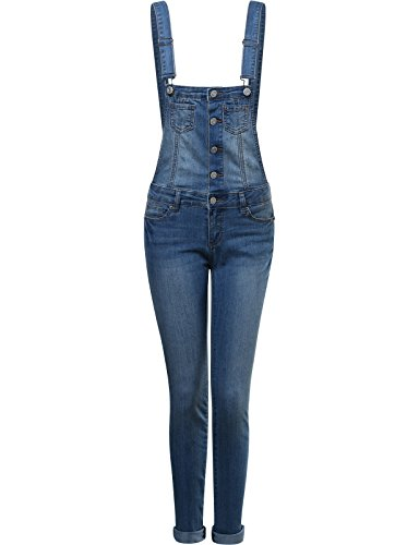 FPT Womens Long Fitted Denim Overalls MEDIUM SMALL