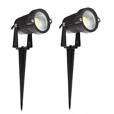 Lemonbest® High Power Outdoor Decorative Lamp Lighting 5W COB LED Landscape Garden Wall Yard Path Light Warm Cool White DC 12V w/ Spiked Stand, Pack of 2
