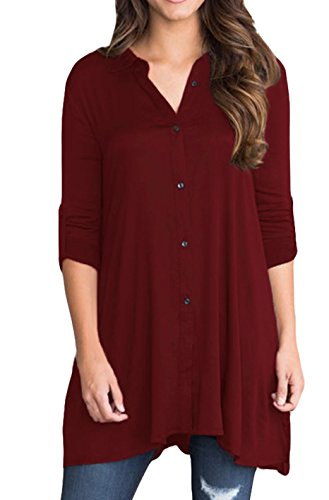 Grace Elbe Women's 3/4 Sleeve Button Down Shirt Solid Tunic Tops Burgundy Small