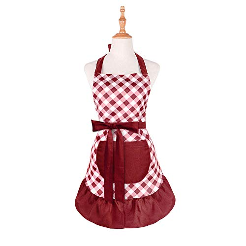 (Cotton Kitchen Aprons for Women Girls with Pockets Miyshow Retro Lovely Vintage Cooking Apron Fashion Lattice Housework Apron Dress for Mother's Day Gift(Red wine))