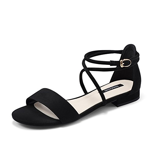 uk3 B Summer Size Women's color 5 Heel B Eu36 Mid Flat With Amazing Strapped cn35 Sandals Shoes Black SBW76BPq