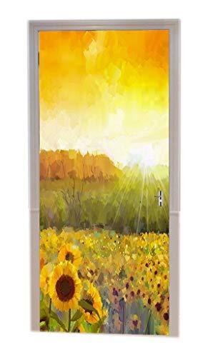 A.Monamour Golden Yellow Sunflower Field Distant Hill Rural Sunset Landscape Orange Watercolor Oil Painting Background Vinyl Room Door Decals Wallpaper Wall Murals Door Stickers Posters Art Decors ()