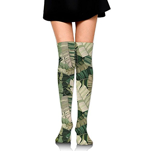 Camo Leaf Unisex 1 Pair Over Knee Socks 65CM 3D Printed Cosplay Knee High Socks Plain Stretch Lightweight Ribbed Casual Stockings Fit All Season (Early Lights Christmas Meme)