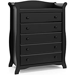 Storkcraft Avalon 5 Drawer Universal Dresser, Black