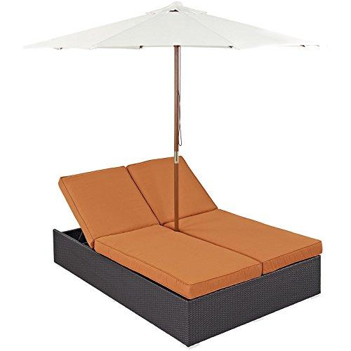 Modway Convene Wicker Rattan Outdoor Patio Double Chaise Lounge Chair and Umbrella Set in Espresso Orange ()