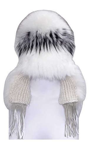 Northstar Women's White-Silver Fox Fur Fashion Beanie Hat, White/Black. H-29 by North Star
