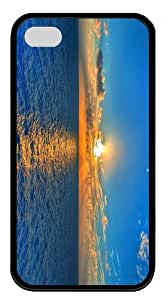 case the best Sunset over Sea TPU Black Case for iphone 4/4S