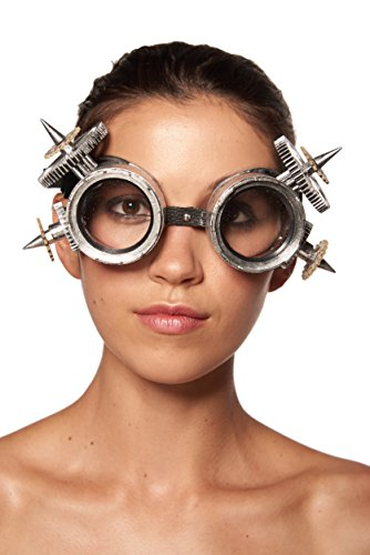 KII SilverSteampunk Goggles with Cogs and Giant Spikes (Unisex; One Size Fits - Cog Sunglasses