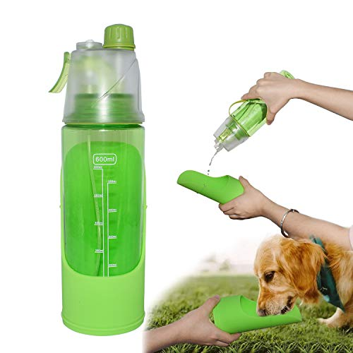 PetQoo Dog Water Bottle for Walking Portable Detachable Pet Bowl can Cool Spray Leakproof for Suitable for Outdoor Sports and Camping Travel Water Bottle(Green)