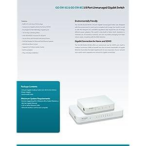 D-Link 8 Port Gigabit Unmanaged Desktop Switch, Plug and play, Fanless design, IEEE 802.3az Energy-Efficient Ethernet…