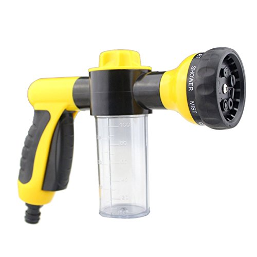 Freehawk Garden Hose Nozzle/Sprayer, Car Washer Water Gun with Car Clean Foam. Free Detachable Shut Valve and ABS Connector, 8 adjustable Pattern, Best For Hand Watering Plants & Lawn,Car Washin