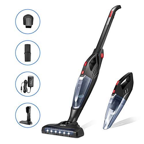 Cordless Vacuum, 13000 Pa Lightweight Stick and Handheld Vacuum, 60Min Long-Lasting 2 in 1 Stick Vacuum Cleaner, LED Brush for Floor Carpet Pet Hair, Deik (Black)