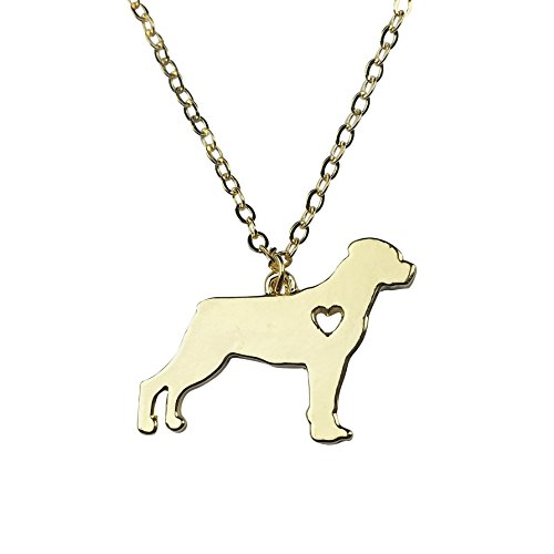 Rottweiler Pendant (Art Attack Goldtone I Love My Dog Lover Heart Outline Rottweiler Pet Puppy Rescue Pendant Necklace)