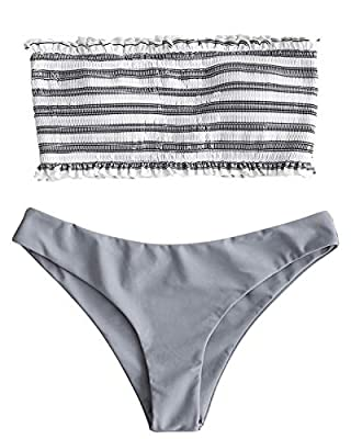 ZAFUL Women's Striped Smocked Bandeau Top Strapless Two Piece Shirred Bikini Set Swimsuit Bathing Suits
