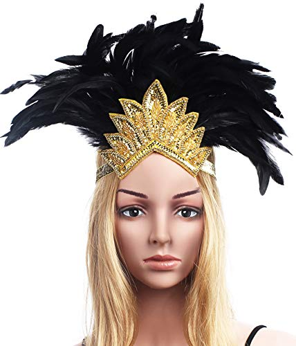 (BABEYOND Women's Black Feather Headband Indian Crystal Headpiece Fascinator Carnival Headpiece Pageant Headband (Gold Crystal))