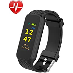 InChor HR2 Fitness Tracker, Activity Tracker Wristband Smart Sports Band Watch with Touch Screen Step Calorie Counter Health Sleep Monitor for iPhone Android Phones (Black)