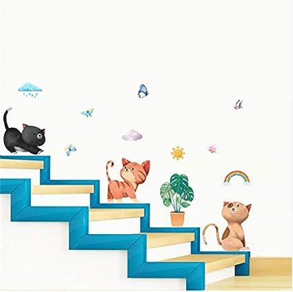 Yirenfeng Gatos Encantadores Pegatinas De Pared Para Niños Sala Zócalo Decoración Del Hogar De Dibujos Animados