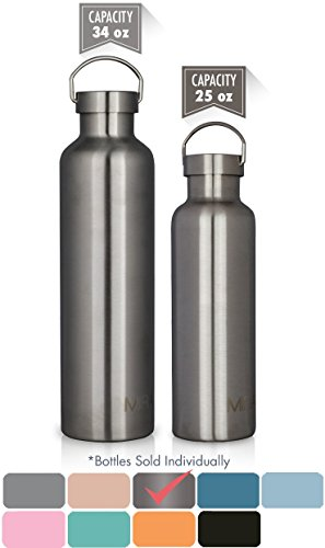 MIRA 25 oz Stainless Steel Vacuum Insulated Water Bottle | Thermos Keeps Your Drink Cold for 24 hours & Hot for 12 hours, Doesn't Sweat | Large Sports Flask with 2 Lids | 750 ml Steel