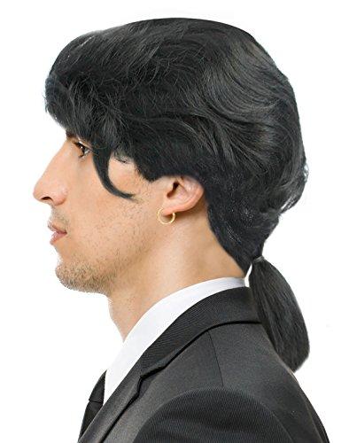 Costumes Vegas (Ponytail Wig Vincent Vega Wig Vincent Vega Costume Gaston Wig Colonial Wig Black)