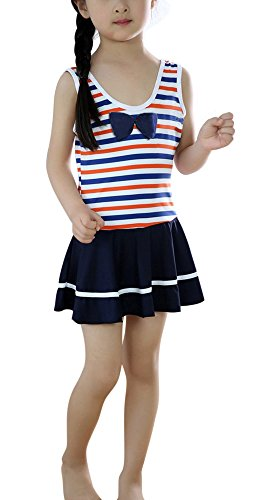[FakeFace Girls One-Piece Sailor Swimming Suit Kids Summer Dress Age 3-5 Navy Blue] (Girls Swimming Costumes Age 13)