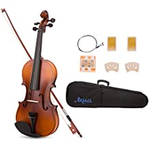 ARTALL 4/4 Full Size Handcrafted Acoustic Violin Beginner Kit for Student with Hard Case, Bow & Accessories, Matte Antique