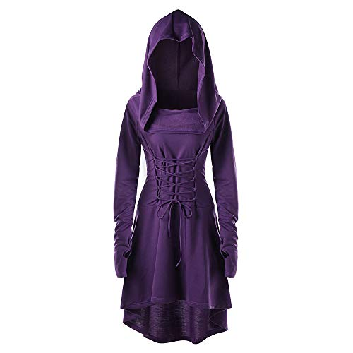 Women Hooded Sweatshirt Dress Long Sleeve Bandage Medieval Vintage Lace Up High Low Cloak Robe (2XL, Purple)