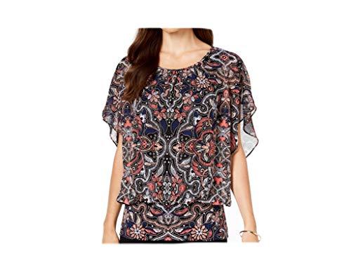JM Collection Women's Banded-Hem Blouson Top Floral Stitch (XLarge) (Banded Blouson)