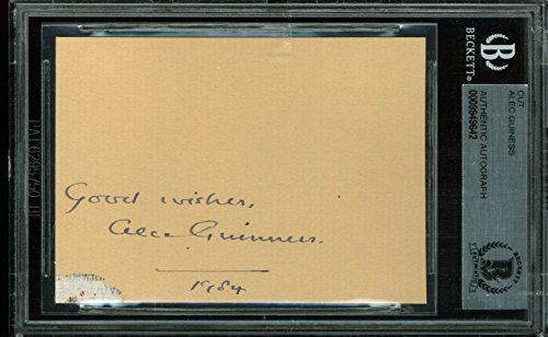 Alec Guiness Star Wars Authentic Signed 2.5×3.5 Cut Signature BAS Slabbed
