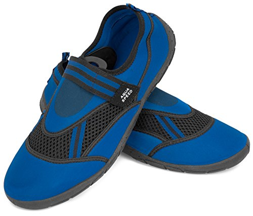 Aqua Speed Set - Aqua-Schuhe + Mikrofaserhandtuch | Damen | Herren | Kinder | Jugendliche | Poolschuhe | Badeschuhe | Neopren MODELL 25 - Blau / Schwarz