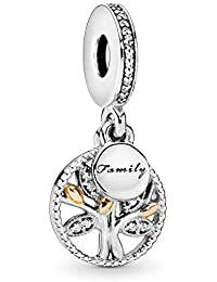 Jewelry - Sparkling Family Tree Dangle Charm in Sterling Silver and 14K Yellow Gold with Clear Cubic Zirconia