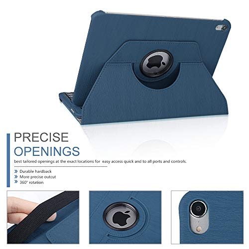 iPad 11 Keyboard Case for 2018 iPad Pro, Dingrich 360 Rotation Leather Case with Keyboard for iPad Pro 11 inch,[Support Apple Pencil Charging],Detachable Bluetooth Keyboard, Dark Blue