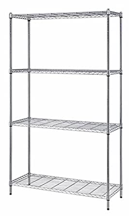 "Quantum Storage Systems RWR72-1830LD 4-Tier Wire Shelving Unit, Chrome Finish, 300 lb. Per Shelf Capacity, 72"" Height x 30"" Width x 18"" Depth"