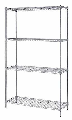 Nsf Chrome Post (Quantum Storage Systems RWR72-1830LD 4-Tier Wire Shelving Unit, Chrome Finish, 300 lb. Per Shelf Capacity, 72