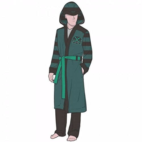 Harry Potter Slytherin Logo With Crest Green Fleece Bathrobe With Hood (Large/X-Large) -