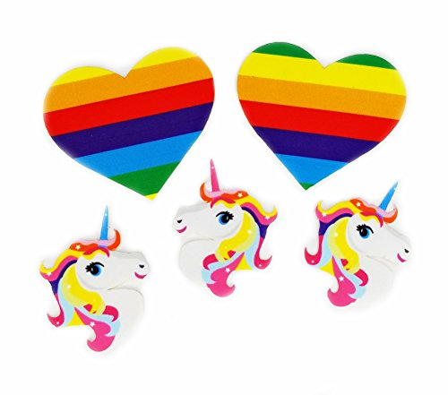 Magical Unicorn & Rainbow Hearts Stickers Set, Rave Booty and Face Stickers Kit (Rainbow Hearts & -