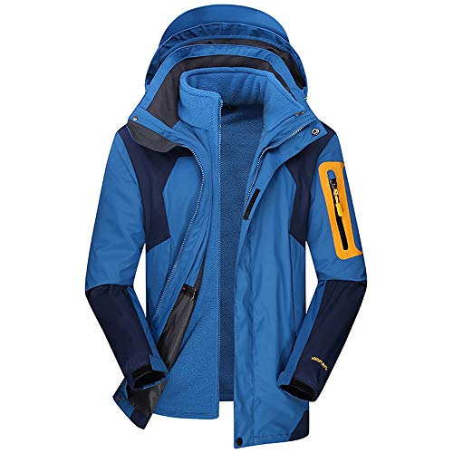 iDWZA Men's Winter Hoodie Two Piece Set Warm Waterproof Windproof Outdoor Outfit Coat(Blue,XXXL)