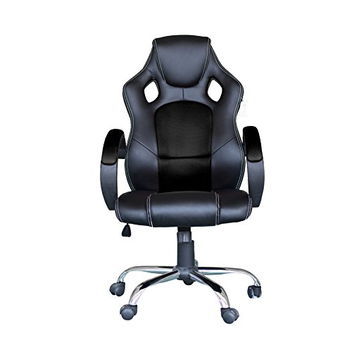 41QbeaNn0rL - Computer-Video-Game-Chair-High-Back-Racing-Style-Chair-With-Lock-Caster-Lumbar-Support-Mesh-Back-and-Headrest-Black