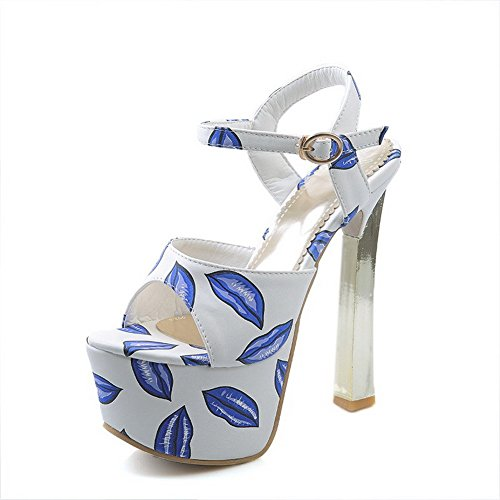 AllhqFashion Mujeres Tacón ancho Peep Hebilla Cuero Colores Surtidos Sandalia Azul