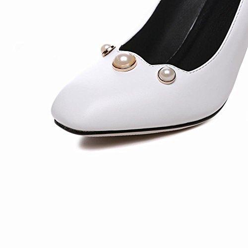 MissSaSa Donna Scarpe col Tacco Blocco Classico e Elegante (34, bianco)